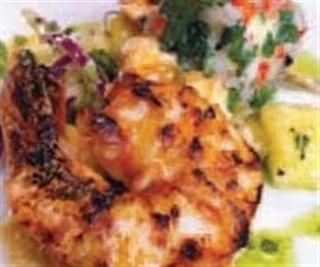 Monkfish & Tiger Prawn Skewers with Chilli Butter and Pineapple Salsa