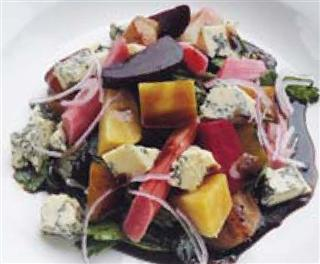 Rhubarb and Beetroot Salad with Cheese