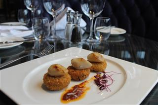 Thai fish cakes with Seared Scallops and Coconut Sauce